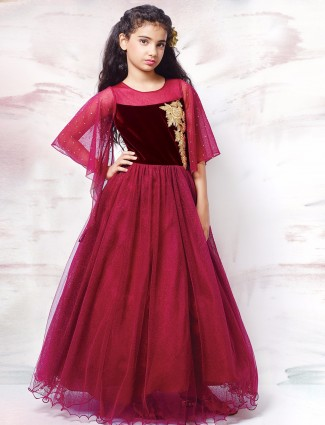 G3 Exclusive net party wear designer maroon gown
