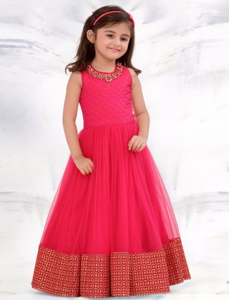 G3 Exclusive net preety pink party wear gown