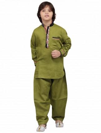 G3 Exclusive olive plain festive wear cotton Pathani Suit