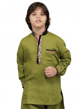 G3 Exclusive olive plain festive wear cotton Short Pathani