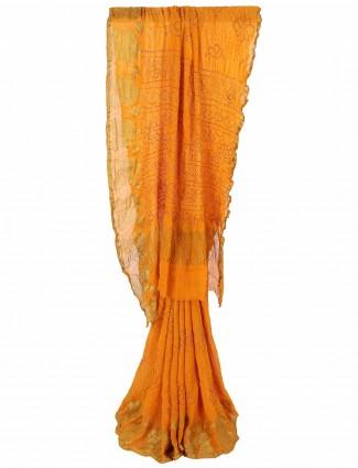 G3 Exclusive orange bandhej printed festive wear saree