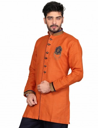 G3 Exclusive orange cotton party wear solid Short Pathani