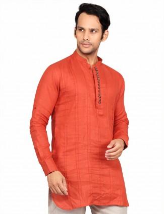 G3 Exclusive orange cotton plain party wear Short Pathani