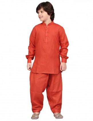 G3 Exclusive orange plain cotton liene festive wear Pathani Suit