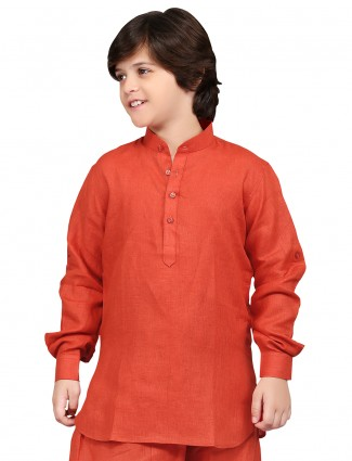 G3 Exclusive orange plain cotton liene festive wear Short Pathani