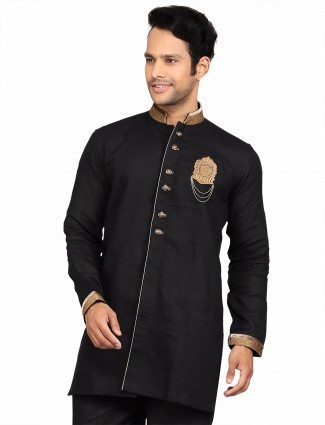 G3 Exclusive party wear black cotton solid Short Pathani