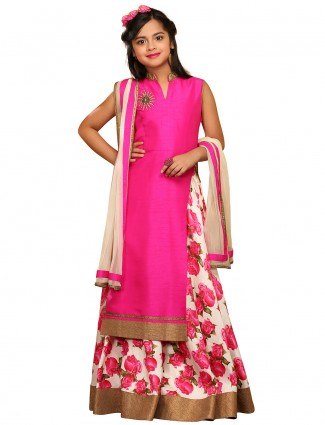 G3 Exclusive party wear raw silk magenta lehenga cum salwar suit