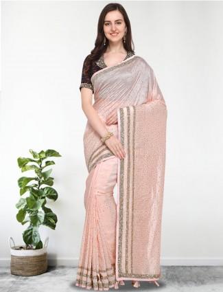 G3 Exclusive peach hue cotton silk saree