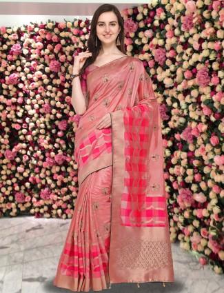 G3 Exclusive peach hue pure silk festive saree