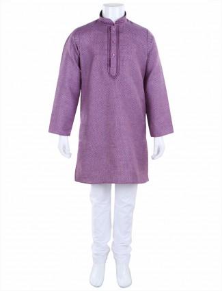 G3 Exclusive purple cotton festive wear kurta suit
