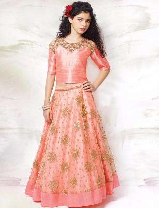 G3 Exclusive pink net and raw silk wedding wear circular girls lehenga choli