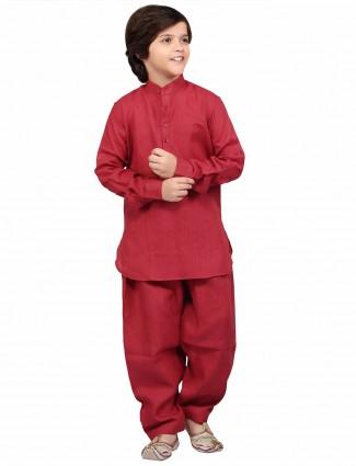G3 Exclusive plain cotton linen festive wear maroon boys Pathani Suit