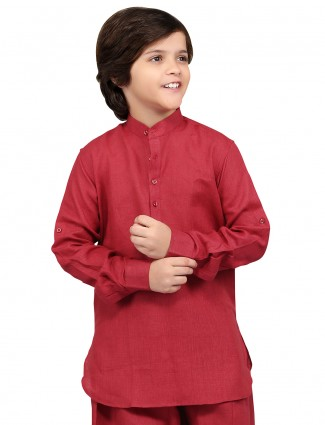 G3 Exclusive plain cotton linen festive wear maroon boys Short Pathani