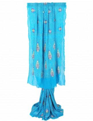 G3 Exclusive printed blue bandhej festive wear saree