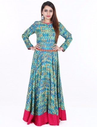 G3 Exclusive printed cotton blue festive wear long anarkali kurti