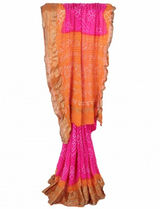 G3 Exclusive printed pink bandhej festive wear saree