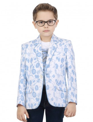 G3 Exclusive printed white boys blazer