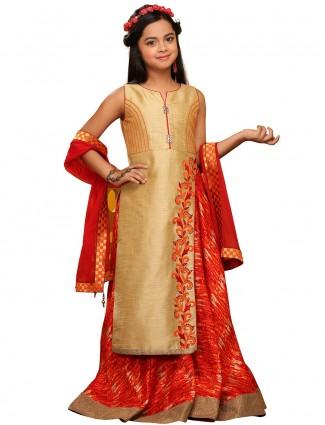G3 Exclusive raw silk gold orange lehenga cum salwar suit