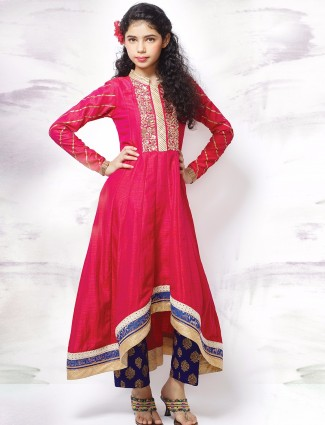 G3 Exclusive raw silk pink festive wear salwar suit