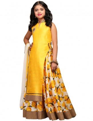 G3 Exclusive raw silk yellow party wear lehenga cum salwar suit