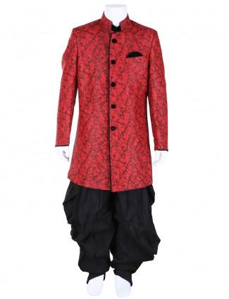 G3 Exclusive red black jute boys wedding Indo Western