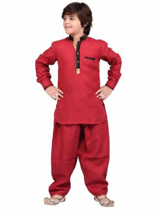 G3 Exclusive red cotton linen plain festive wear Pathani Suit