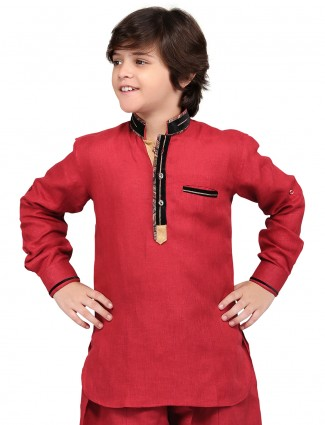 G3 Exclusive red cotton linen plain festive wear Short Pathani