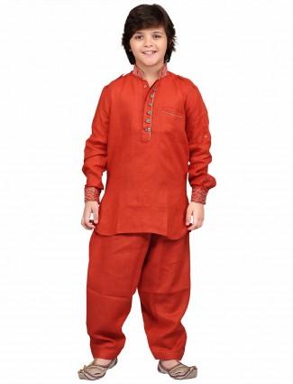 G3 Exclusive red cotton linen  plain party wear Pathani Suit