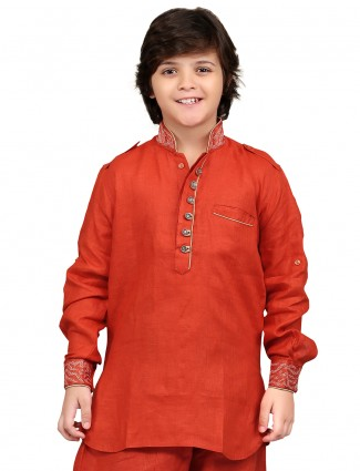 G3 Exclusive red cotton linen  plain party wear Short Pathani