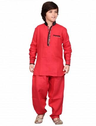 G3 Exclusive red cotton plain festive wear boys Pathani Suit