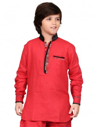 G3 Exclusive red cotton plain festive wear boys Short Pathani