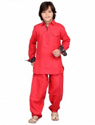 G3 Exclusive red cotton plain festive wear Pathani Suit