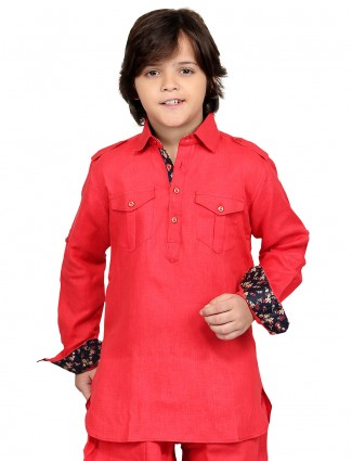 G3 Exclusive red cotton plain festive wear Short Pathani