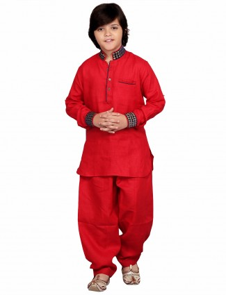 G3 Exclusive red cotton solid festive wear Pathani Suit