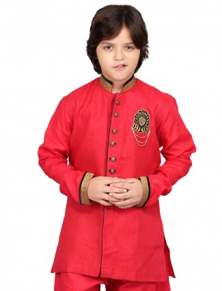 G3 Exclusive red cotton solid party wear Short Pathani