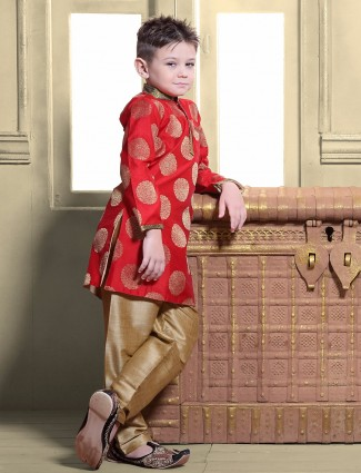 G3 Exclusive red silk party wear kurta suit