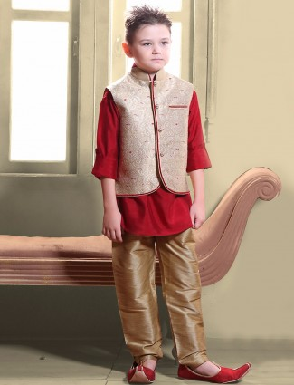 G3 Exclusive red silk party wear waistcoat set