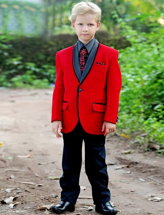 G3 Exclusive red terry rayon boys plain coat suit
