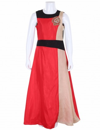 G3 Exclusive satin red party wear gown