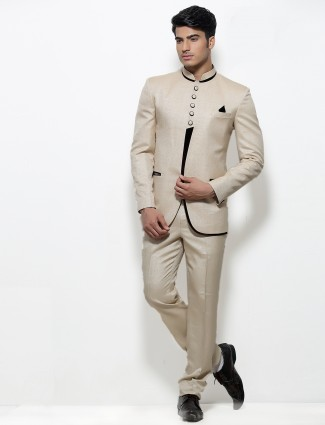 G3 exclusive silk beige plain men jodhpuri coat suit