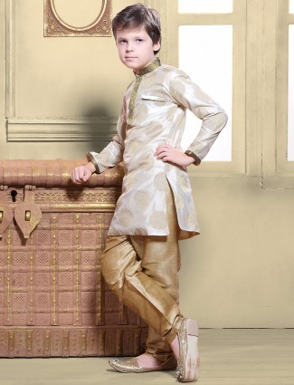 G3 Exclusive silk cream wedding wear kurta suit