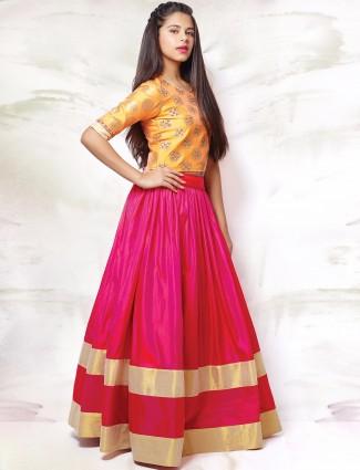 G3 Exclusive silk girls wedding wear magenta and yellow circular lehenga choli