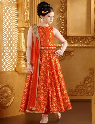 G3 Exclusive silk orange wedding wear anarkali salwar suit