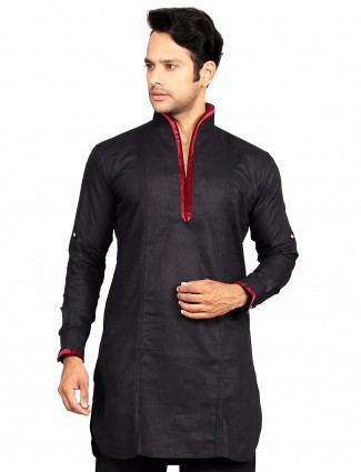G3 Exclusive solid black party wear cotton Short Pathani