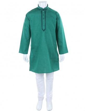 G3 Exclusive solid green cotton festive kurta suit