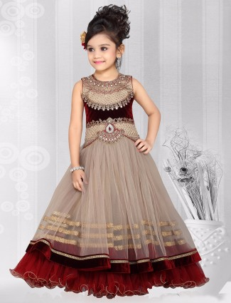 G3 Exclusive wedding wear net beige nice girls gown