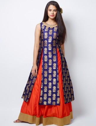 G3 Exclusive wedding wear orange raw silk lehenga choli