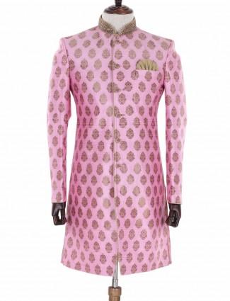 G3 Exclusive wedding wear pink silk indo western