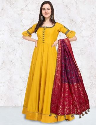 G3 Exclusive Yellow color cotton silk floor length anarkali suit