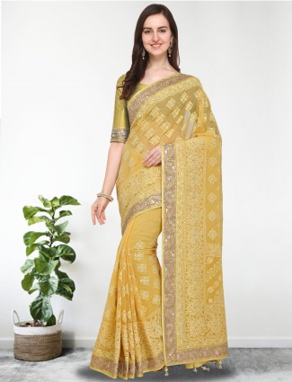 G3 Exclusive yellow color georgette festive
